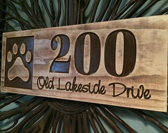Benchmark Signs, address plaque, wooden signs, address sign, paw print, gifts for dog lovers, personalized pet signs, welcome sign, carved