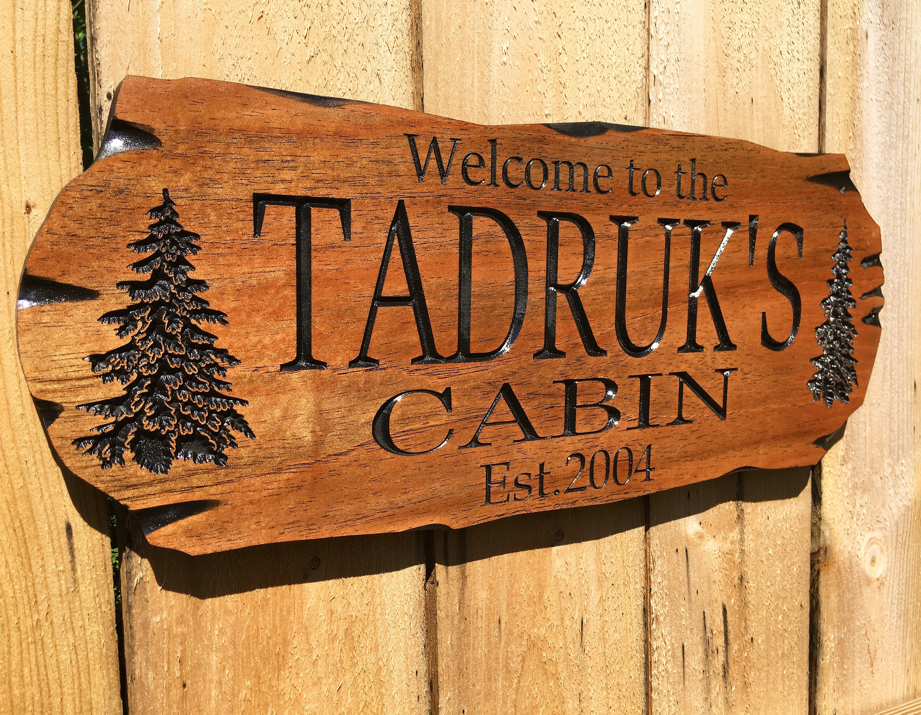 Wooden Carved Sign Spanish Cedar Outdoor Sign Pine Trees