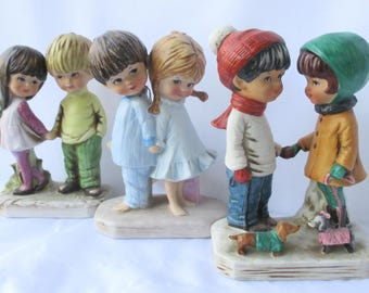 Collection of Three Moppets Couples Figurines - Vintage 1970s Fran Mar Moppets Figurines, Moppets Kids