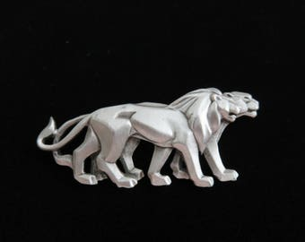 Rare/Striking JJ Jonette Art Deco Silver Strolling Lion And Lioness Brooch Pin