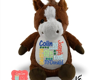 Personalized Horse Stuffed Animal, Personalized Baby Gift , Birth Announcement Gift, Baby Shower Gift, Cubbie, Custom, Stuffy