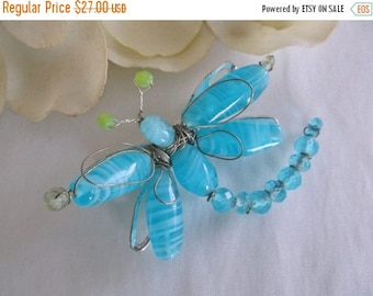 SALE Vintage Retro CAROLEE Blue Quartz Bead Silver Tone Wire Wrapped Dragonfly Jewelry Gift