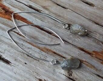 Raw Stone Labradorite Nugget Drop Earrings, Silver plate ear wires, Pierced Ears.