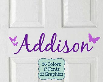 Kids Personalized Name Decal, Kids Name Stickers, Kids Door Letters, Vinyl Door Decal, Kids Door Sign, Vinyl Name Sticker