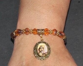 Ochun Osun Orisha photo charm  crystal beaded bracelet