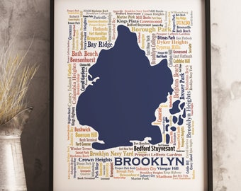 Brooklyn Typography Map Art Print, Brooklyn Poster Print, Brooklyn neighborhood map print, Brooklyn New York Art, Choose your color and size