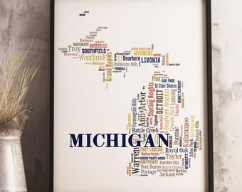 Michigan Map Art, Michigan Art Print, Michigan City Map, Michigan Typography Art, Michigan Poster Print, Michigan Word Cloud