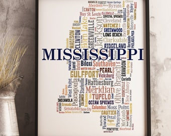 Mississippi Map Art, Mississippi Art Print, Mississippi Typography Art, Mississippi Poster Print, Mississippi Word Cloud