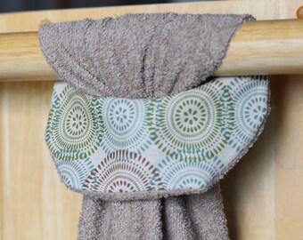 Hanging Kitchen Towel, Hanging Hand Towel, Large Bathroom Towel, Tan Towel, Olive Green Towel, Green Kitchen Decor, Hostess Gift,