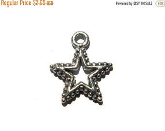 HALF PRICE 10 Silver Star Charms - 20mm