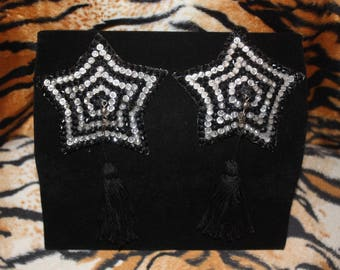 Burlesque Pasties Pinup Showgirl Crystal Rhinestone Star with Tassels Black Silver