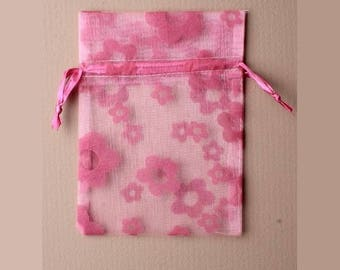 5 bags organza 15 x 11 cm flowers pink packaging