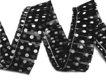 Black ruched ruffle Ribbon with white dots 20 mm