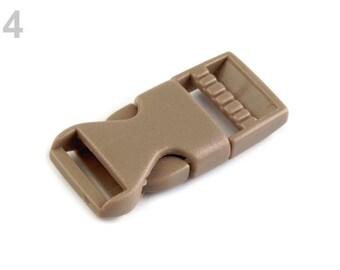 2 buckle strap 15 mm brown beige plastic
