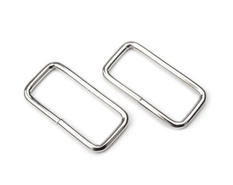 2 32 mm silver rectangle earrings
