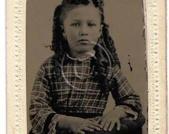 Antique Tintype Photo Beautiful Ethnic Girl Ringlet curls