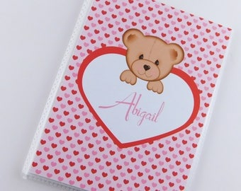 Valentine's Day Gift Photo Album Baby Girl 1st Valentines day Teddy Bear Present Pink Red Heart 4x6 or 5x7 Pictures 825