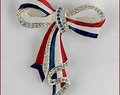 Eisenberg Ice Patriotic Bow Pin,Red White and Blue Eisenberg Bow Pin,Eisenberg Silver Tone Bow Pin with Rhinestones and Enameling (#J1065)