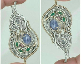 Double bailed wire wrapped pendant