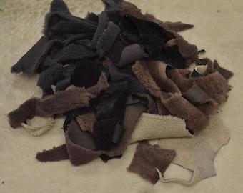 Leather Scrap hair on Sheepskin 1 pound Neutral Colors wool remnants DE-60705 (Sec. 5 Shelf 1,D)