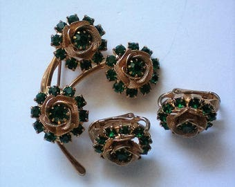 Signed Judy Lee Filigree and Green Rhinestone Flower Brooch with Earrings - 5464