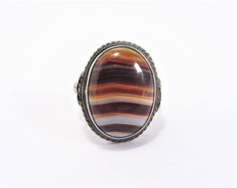 Antique Sterling Banded Agate Ring Size 6 Estate Jewelry