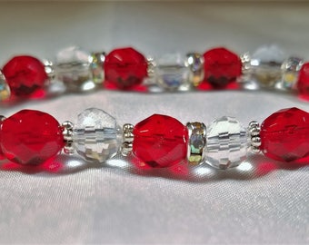 crystal Stretch bracelet clear and red with rhinestones