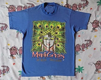 Vintage 80's Mardi Gras New Orleans T shirt, size M/L colorful French Quarter