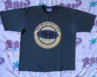Vintage 90's Wu Wear NYC T shirt, size XL streetwear Wu-Tang Clan thrashed