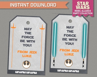 Star Wars Party Favor Tags / Star Wars Thank you Tag (Rebel Alliance) - Star Wars Birthday - Edit and print at home with Adobe Reader