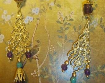 Earrings sleepers chandeliers, Bohemian chic, valuable, gypsies, amethysts, OOAK