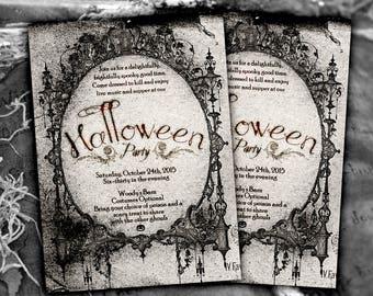 Halloween Invitation - Halloween invitation printable, Halloween party invitation, black Halloween invitation, gothic Halloween invitation