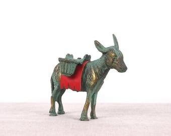 Donkey Figurine, Donkey Decor, Donkey Art, Donkey Statue, Brass Figurine, Animal Miniature, Brass Animal, Donkey Gift, Brass Miniature
