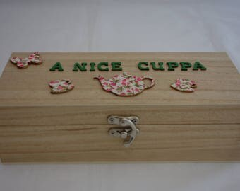 3 section wooden Tea Box, to store individual speciality flavour teabags