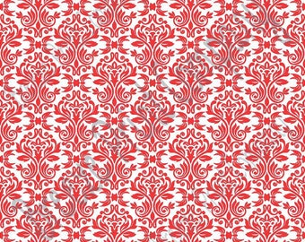 White with red damask floral craft  vinyl sheet - HTV or Adhesive Vinyl -  HTV4202