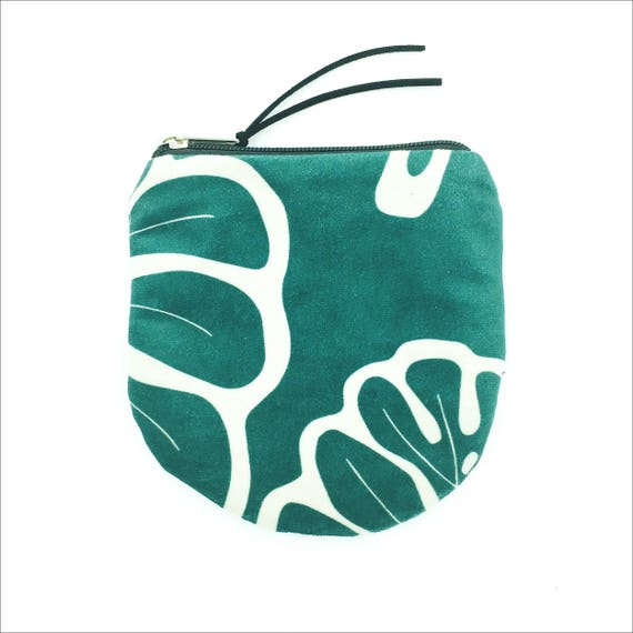 "Round Pouch Green and white graphics ""Monstera"", small bag in brushed poly"