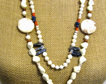 Native American Hand Carved in Agate w/Blue & Orange Accents