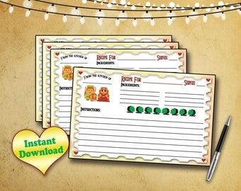 Adventure Game Kitchen Printable Recipe Card / 4x6 Instant Download / DIY Recipe Card, Kitchen Cook Book / INSTANT DOWNLOAD / Instant Print