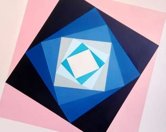 Abstract blue pink squares acrylic painting on canvas 20*20""