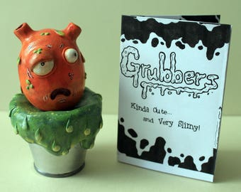Polymer Clay Sculpture, Orange Grubber, Cute Slimy Monster, Handmade, Handpainted