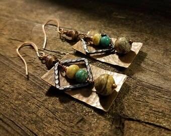 Boho Earrings, Mixed Metal Earrings, Metal Earrings, Copper Earrings, Southwestern Earrings, Funky Earrings, Dangle Earrings, Drop Earrings
