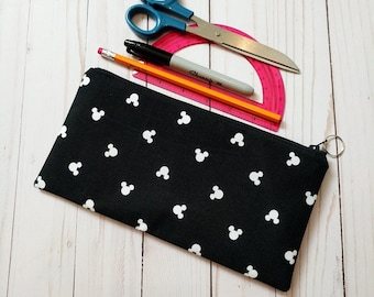 Mickey Head Zippered Pencil Case / Large / Black and White