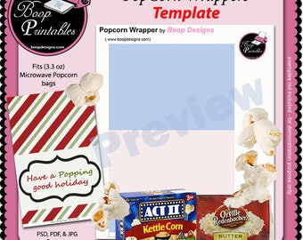 Microwave popcorn etsy popcorn wrapper template by boop printables pronofoot35fo Choice Image