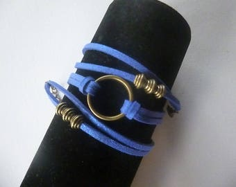 Bronze three turns electric Blue Suede, ring and Bead Bracelet