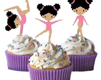 Gymnastics Gymnast African American Black Hair Cupcake Toppers Birthday Party Decorations Set of 12 for your gymnastic party