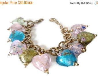 On Sale Vintage RJ Grazino Venetian Glass Heart Charm Bracelet