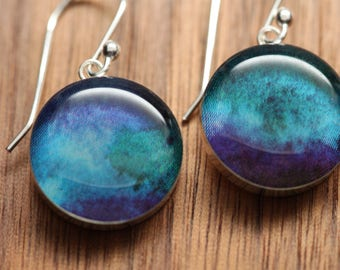 Celestial earrings with sterling silver and resin. Made from recycled, upcycled Starbucks gift cards.