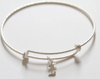 Sterling Silver Bracelet with Sterling Silver Cursive I Charm, Sterling Silver Cursive I Charm Bracelet, Leather I Charm Bracelet, I Charm