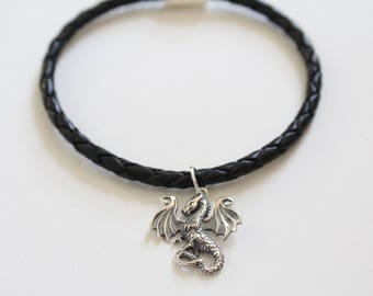 Leather Bracelet with Sterling Silver Dragon Charm, Dragon Pendant Bracelet, Dragon Bracelet, Dragon Charm Bracelet, Silver Dragon Bracelet