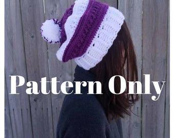 Crochet Hat Pattern, Slouchy Hat Pattern, Adult Hat Pattern, Textured Hat Pattern, Two Color Pattern, Crochet Textured pattern, Pom Pom hat